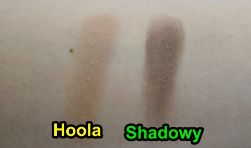 Benefit Hoola swatch, MAC shadowy swatch, Bronzer, contour powder, MAC sculpting powder