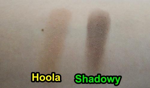 Benefit Hoola swatch, MAC shadowy swatch, Bronzer, contour powder, MAC sculpting powder